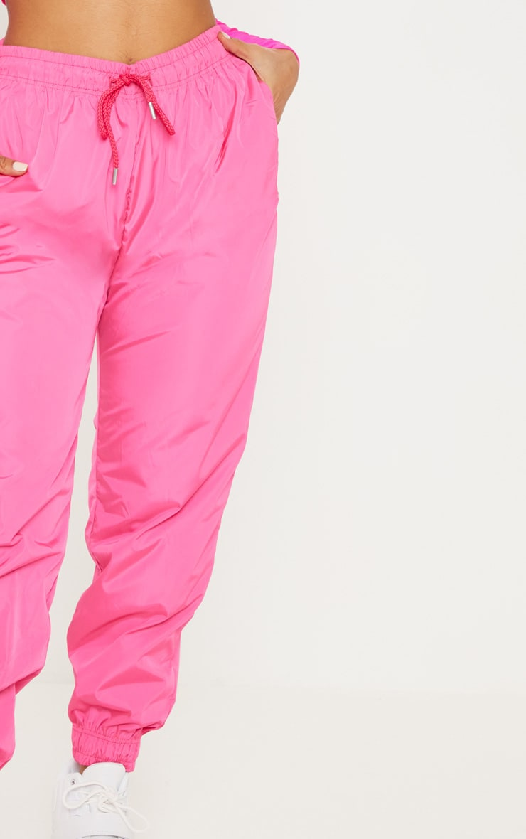 Hot Pink Drawstring Waist Shell Pants 5