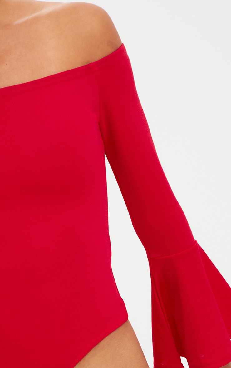 Petite Red Flare Hem Sleeve Bodysuit 4