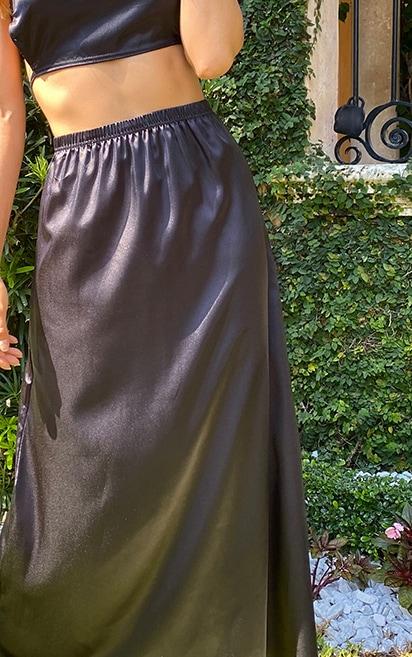 Tall Black Satin Midi Skirt 4