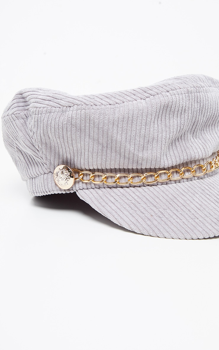 Grey Cord Baker Boy With Gold Chain Detail 4