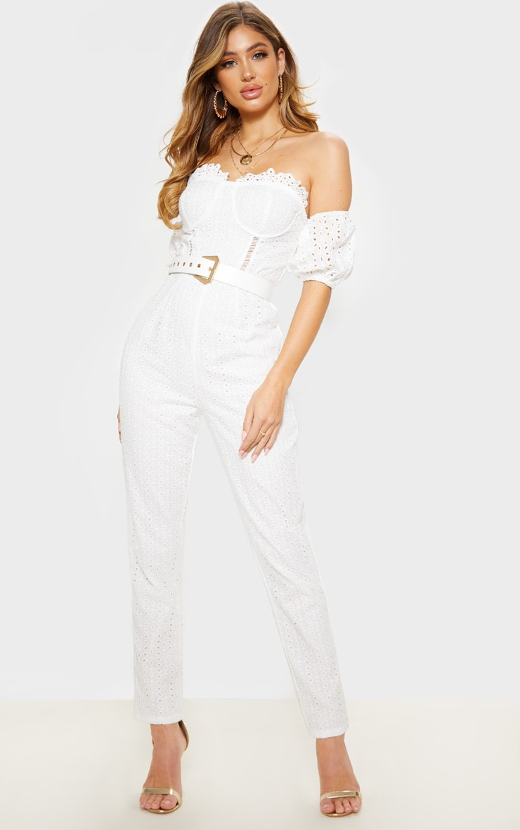 White Broderie Anglaise Bardot Jumpsuit 1