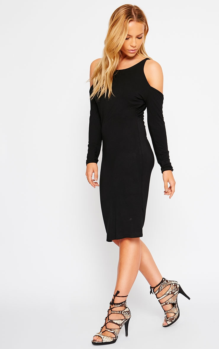 Izadora Black Cut Out Long Sleeve Midi Dress 1