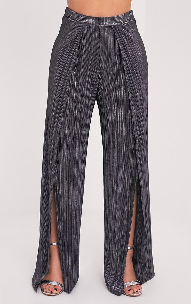 Shape Madaline Grey Split Front Metallic Trousers 2