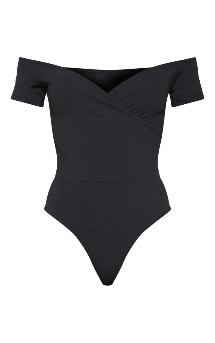Black Crepe Bardot Wrap Bodysuit 1