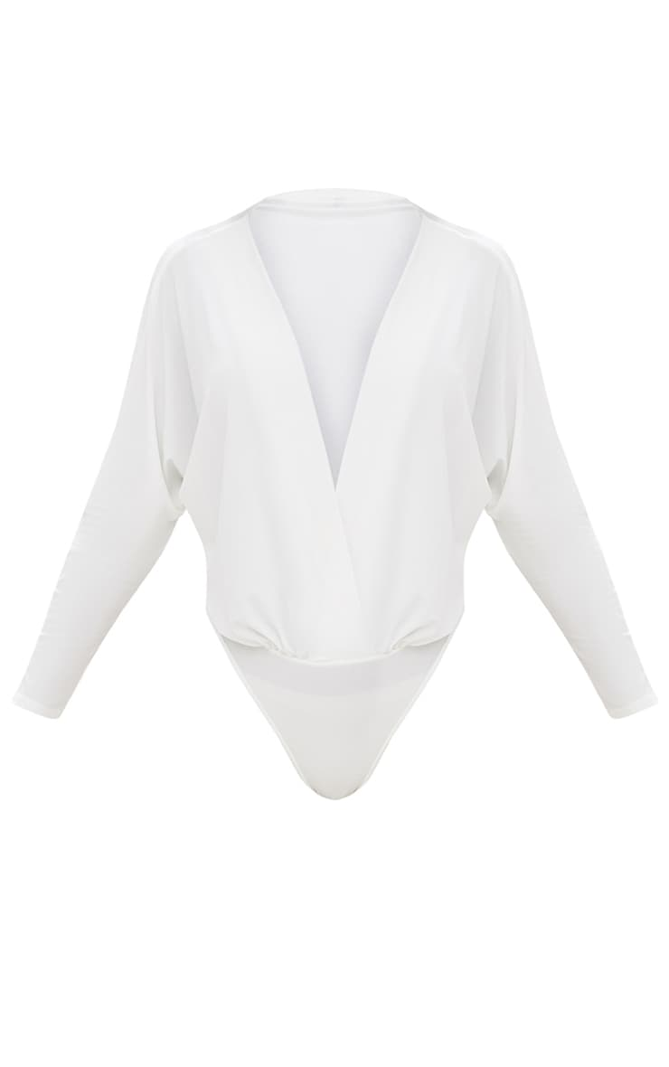 Adelle Cream Thong Long Sleeve Deep Plunge Bodysuit 3