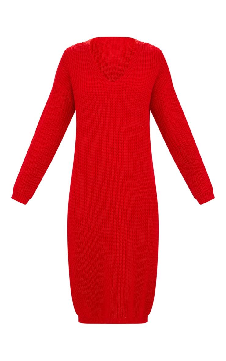 Red V-Neck Oversized Knitted Dress 3