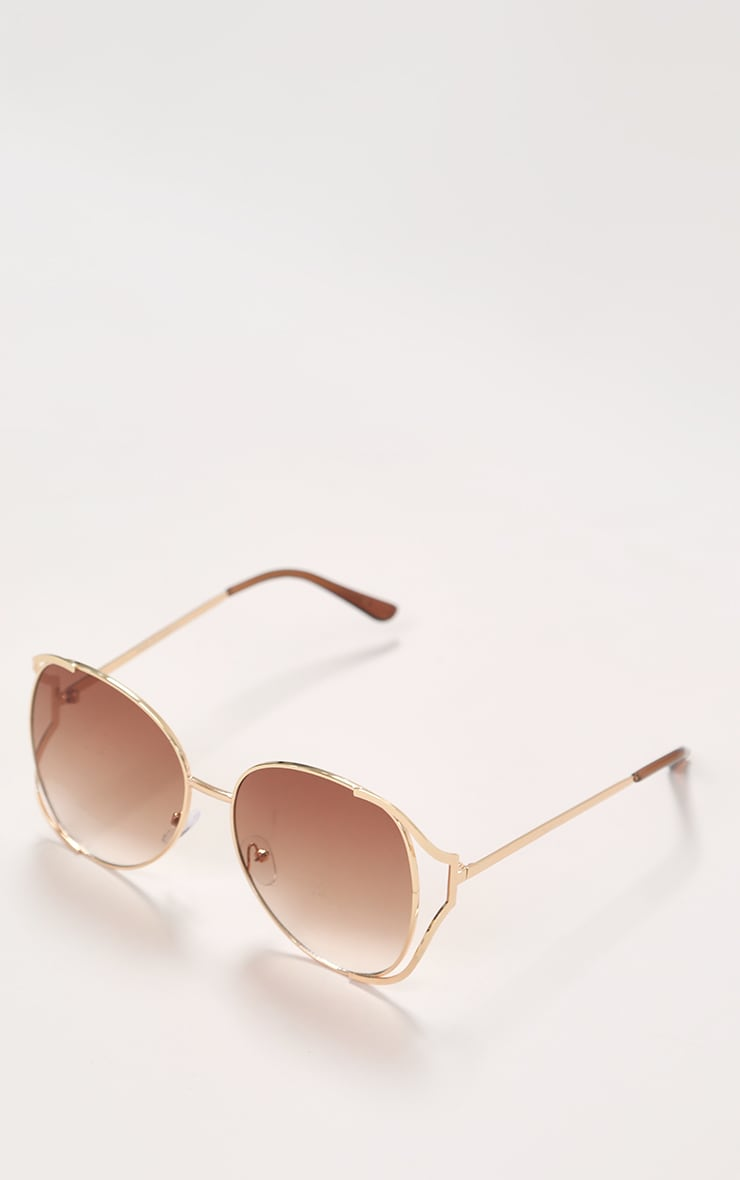 Brown Faded Lens Gold Cut Out Frame Oversized Sunglasses 1