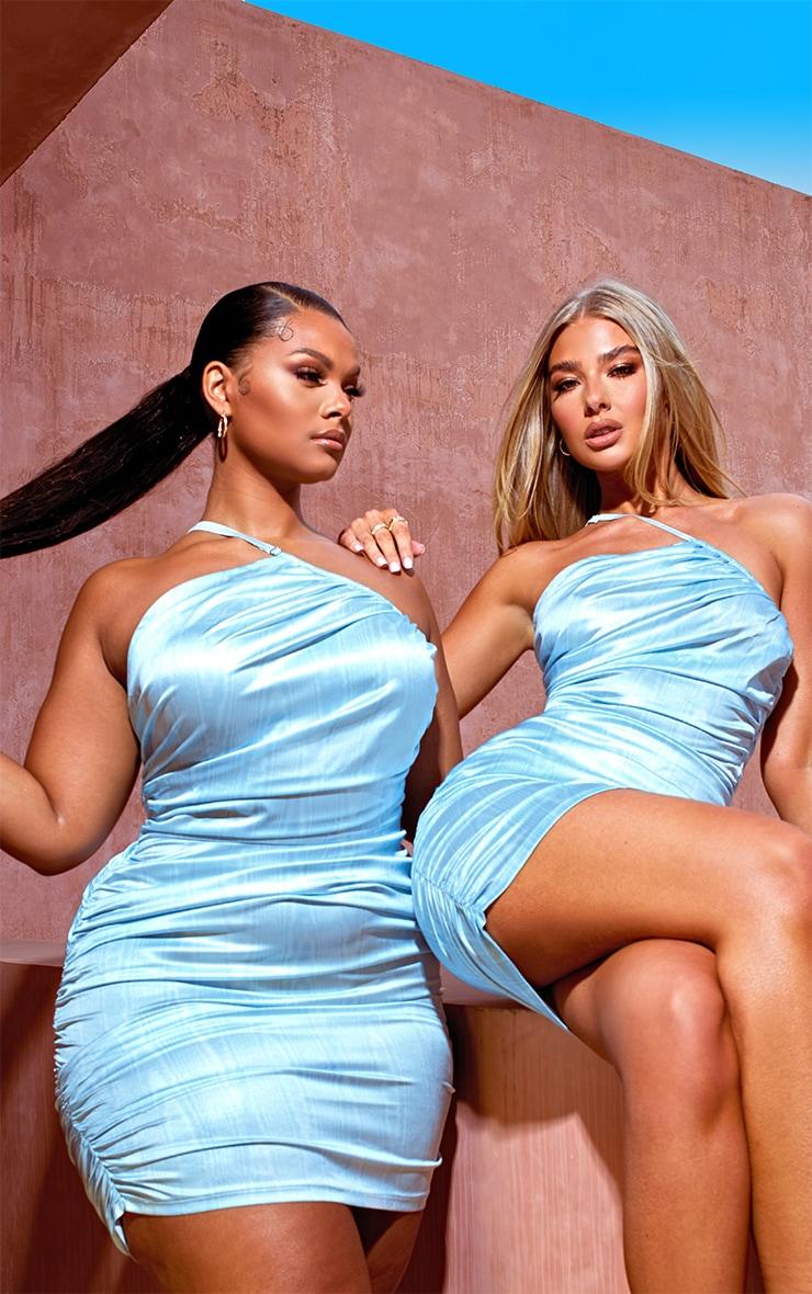 PLUS LIGHT BLUE PRINTED SATIN ASYMMETRIC BODYCON DRESS