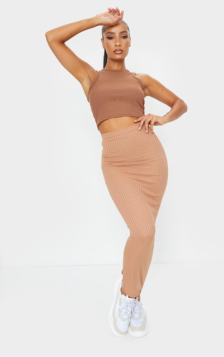 Camel Rib Bodycon Maxi Skirt 1