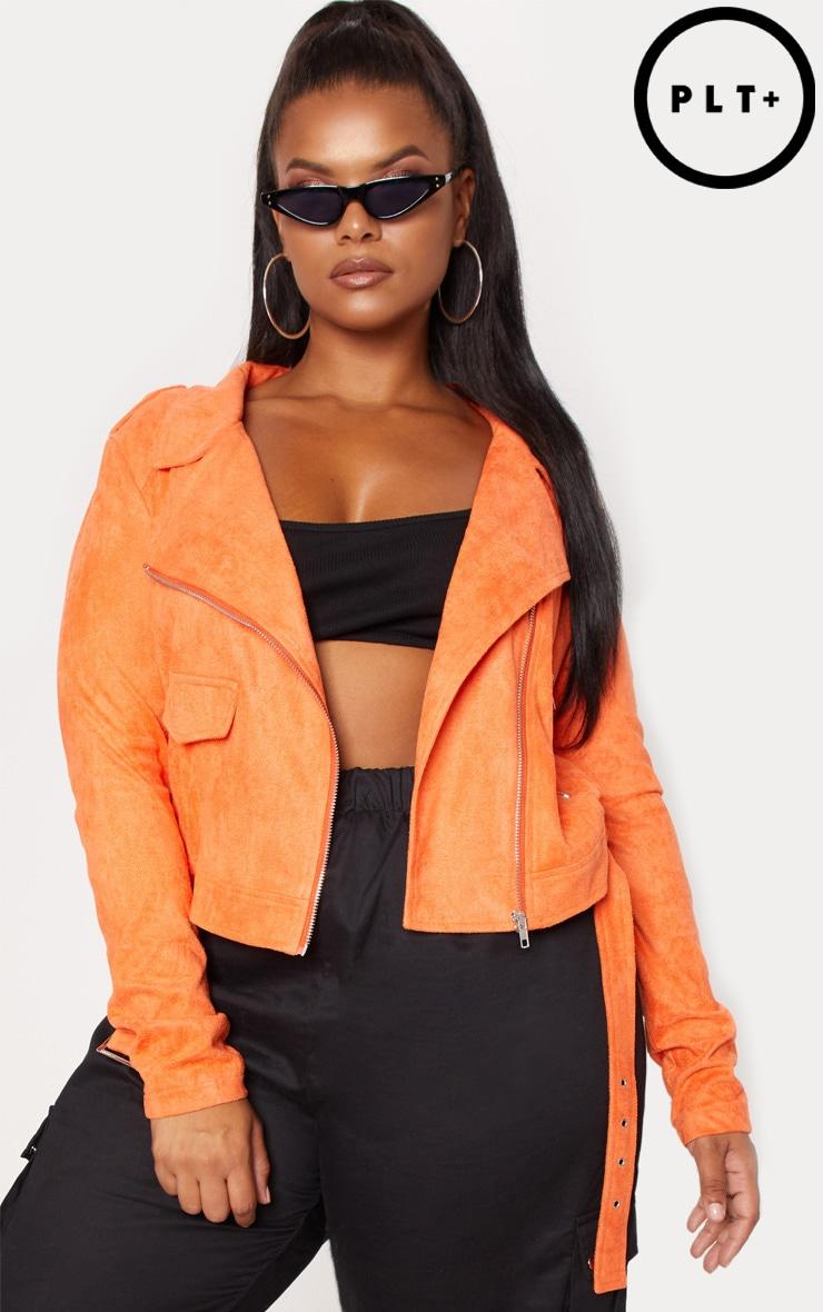 Plus Orange Faux Suede Biker Jacket