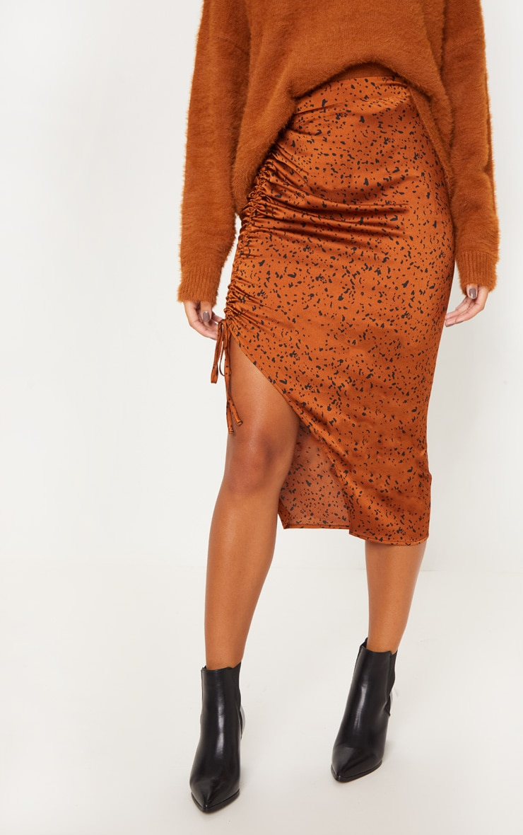 Rust Satin Printed Ruched Side Midi Skirt image 2