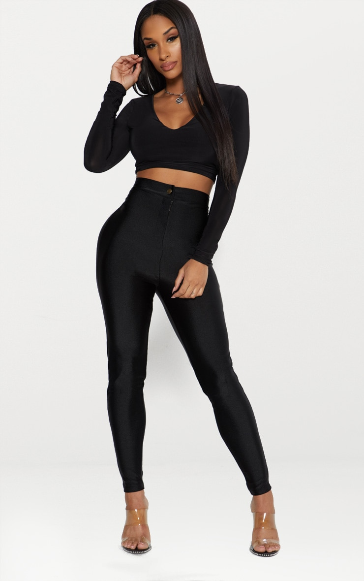 Black Second Skin Long Sleeve V Neck Crop Top  4
