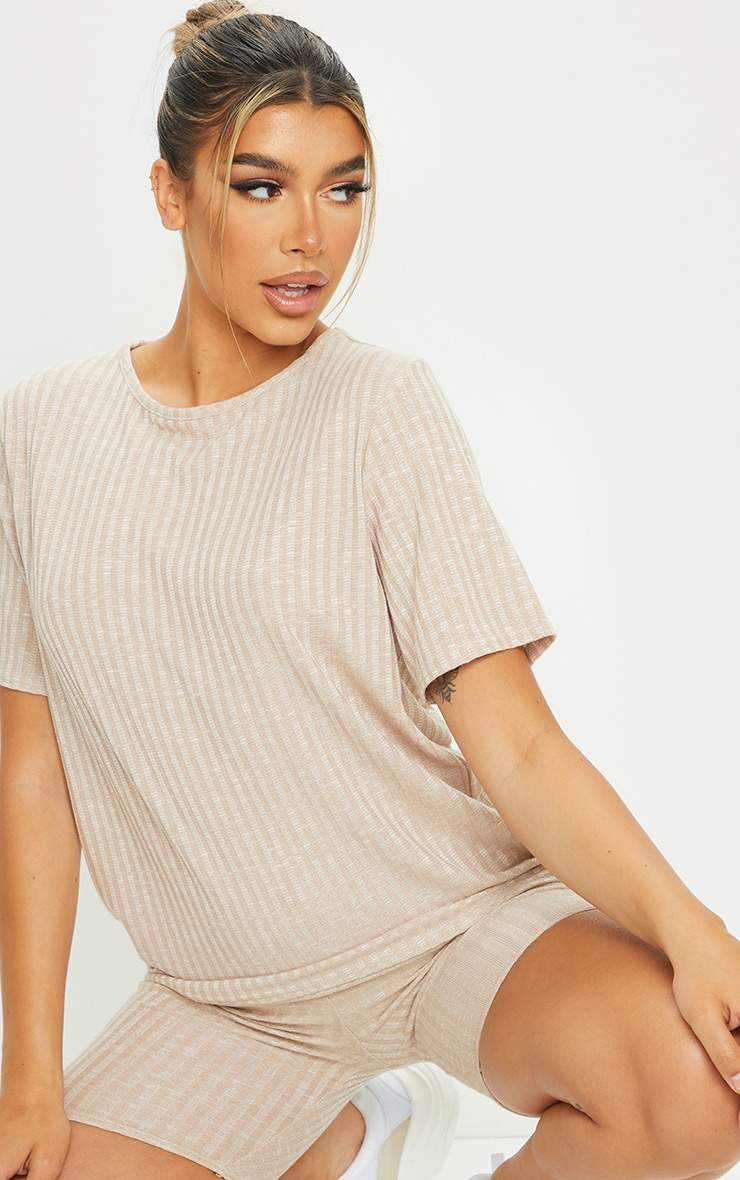 Oatmeal Oversized Knitted Tee And Short Set 4
