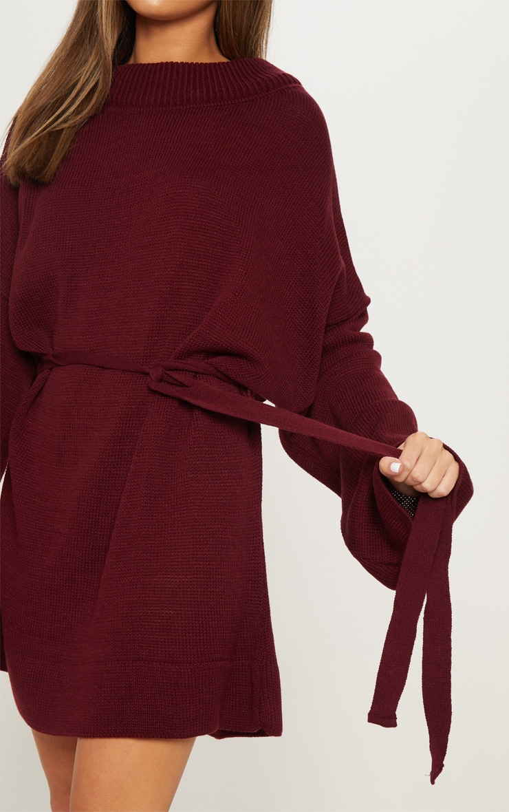 Burgundy Oversized Knitted Belted Dress  5