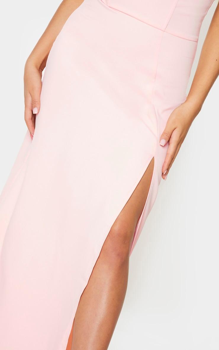 Pale Pink Corset Detail Bandeau Maxi Dress 4