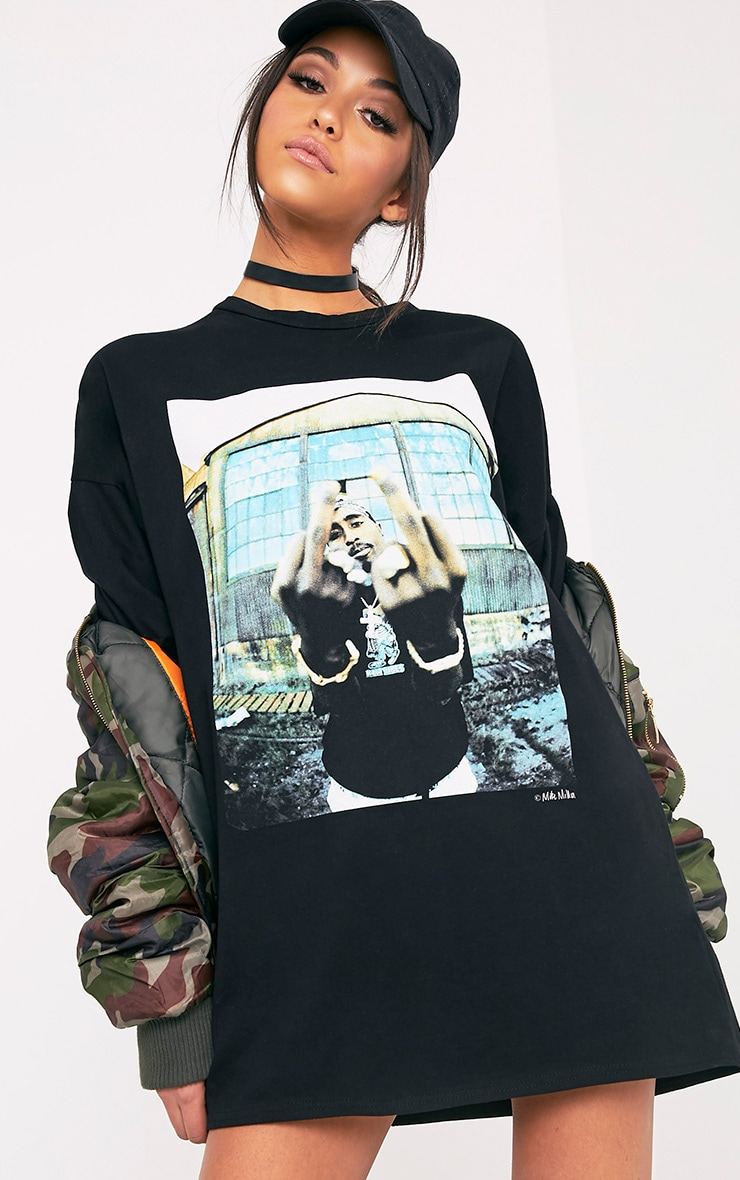 Tupac Black T-Shirt Dress 1