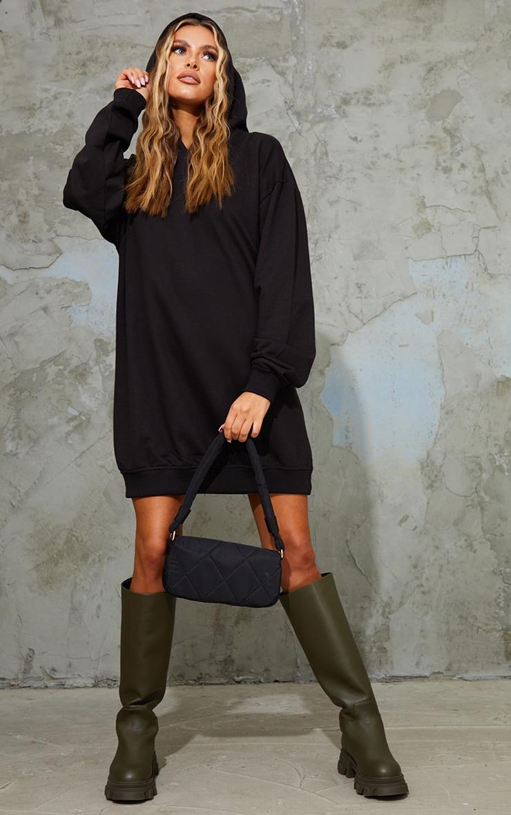 Black Oversized Hoodie Sweat Jumper Dress 1