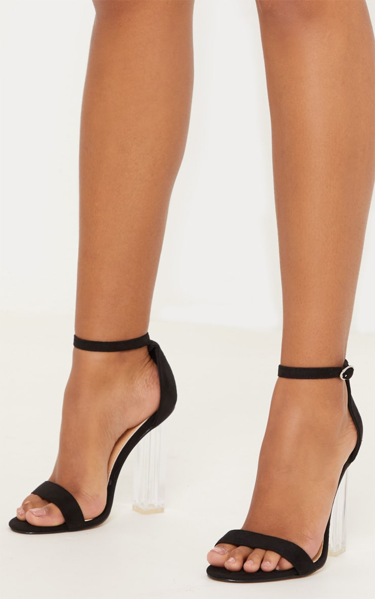 Black Strap Clear Heels 2