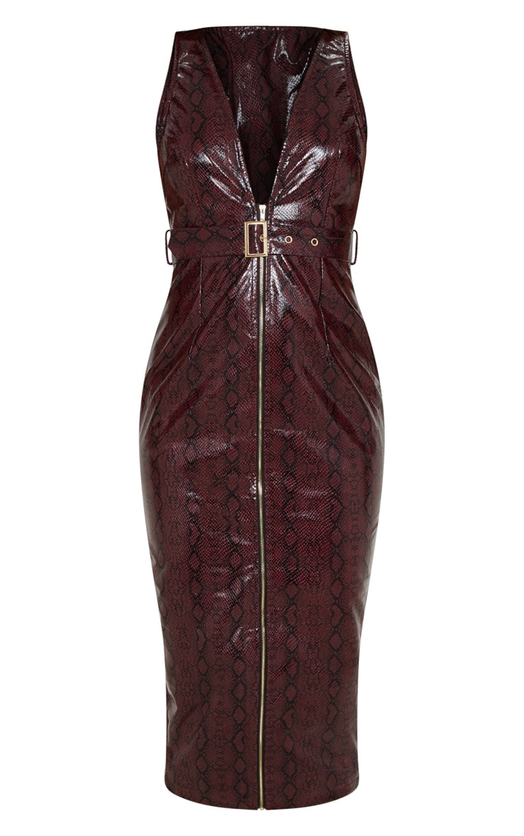 Burgundy Patent Snake Faux Leather Plunge Midi Dress 3