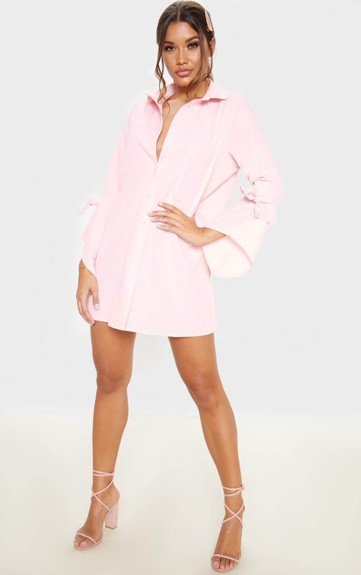 Baby Pink Tie Sleeve Shirt Dress 1