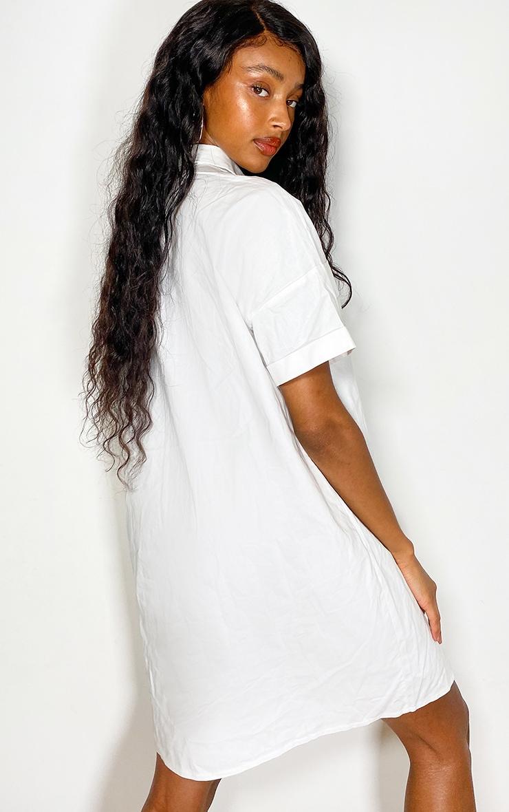 White Oversized Utility Shirt dress 2