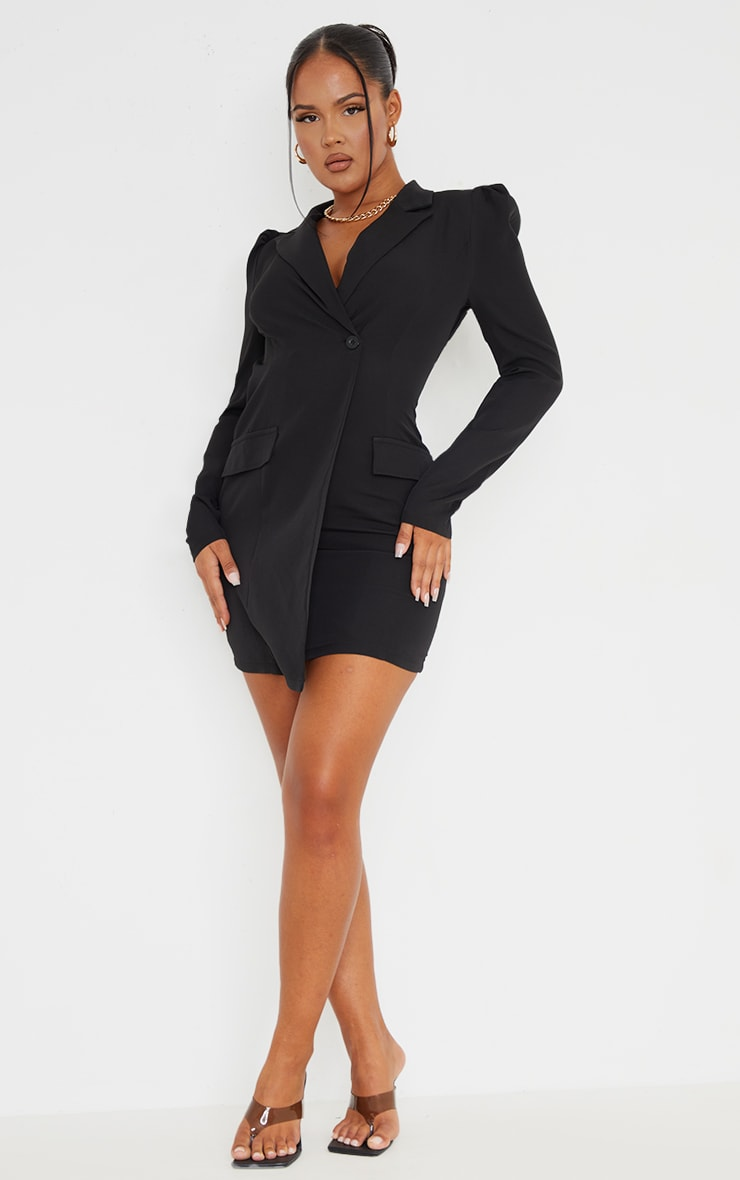 Black Long Sleeve Open Back Blazer Dress 3