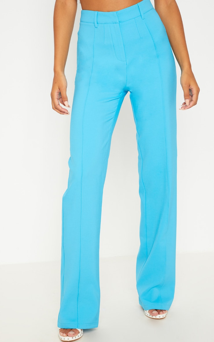 Bright Blue High Waisted Straight Leg Trouser 4