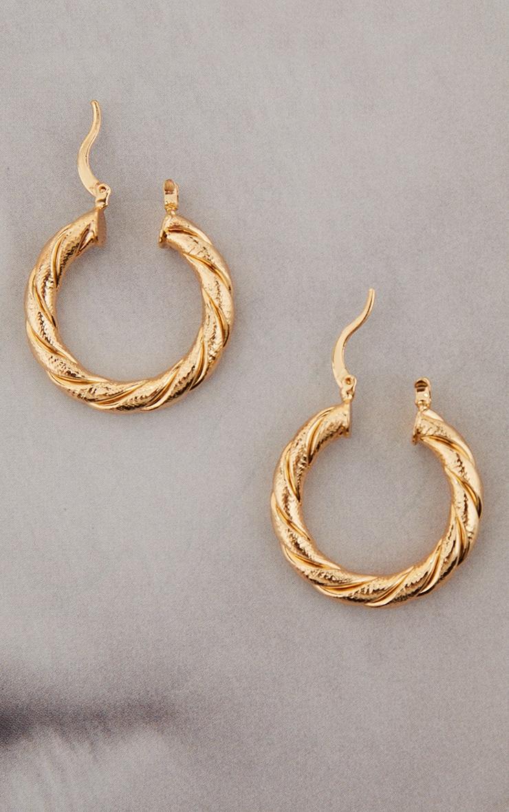 Gold Rope Twist Hoop Earrings 3