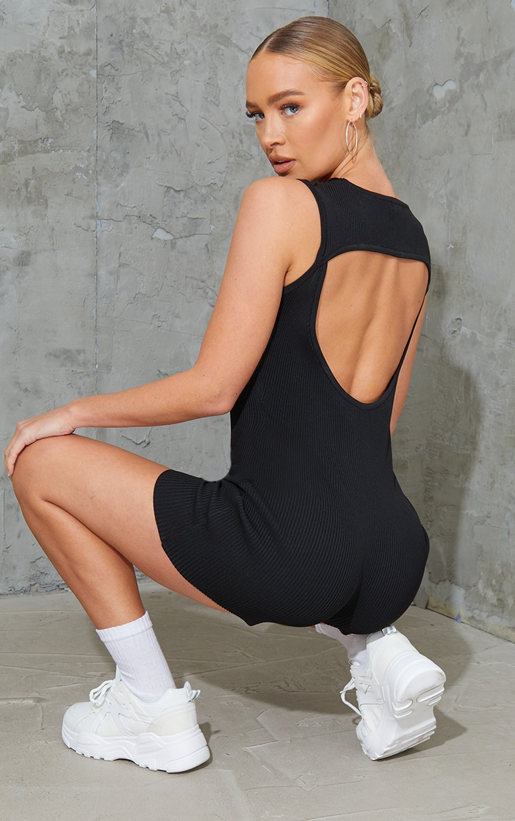 Black Ribbed Knitted Cut Out Unitard 2