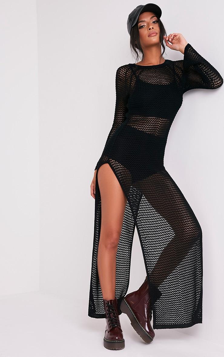 Fennelia Black Loose Knit Side Split Maxi Dress 5
