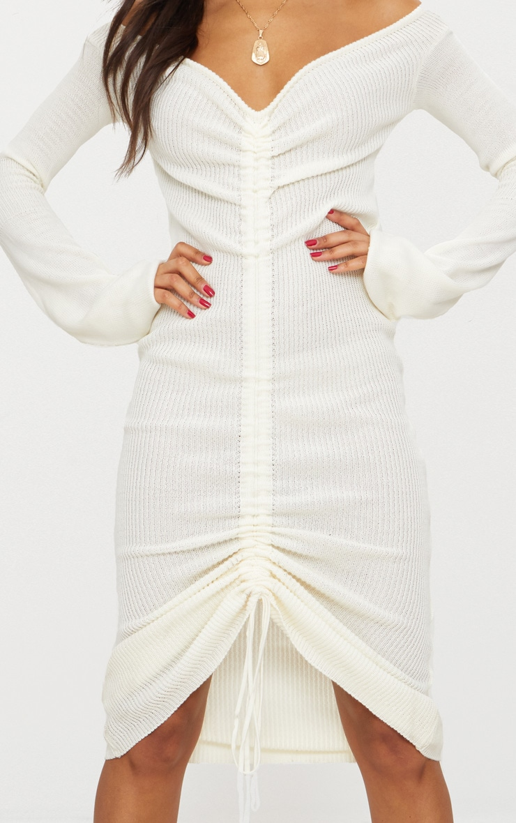 Cream Ruched Knit Extreme Sleeve Midi Dress 5