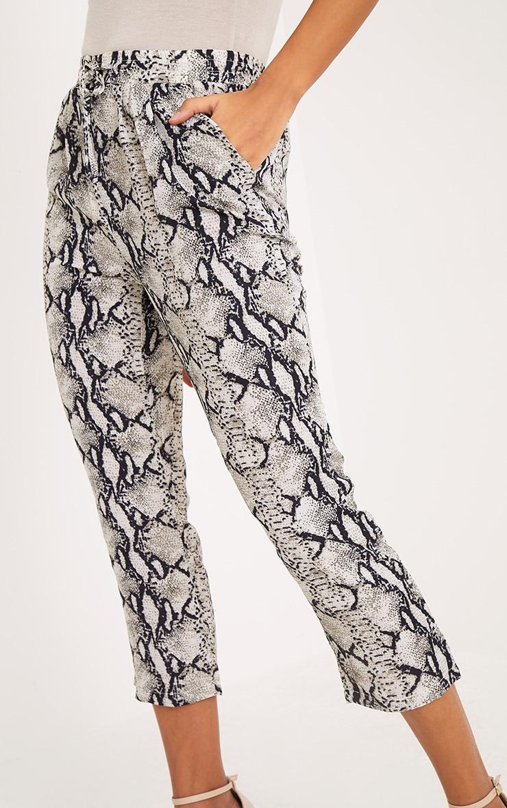 Diya Cream Snake Print Cropped Trousers 5