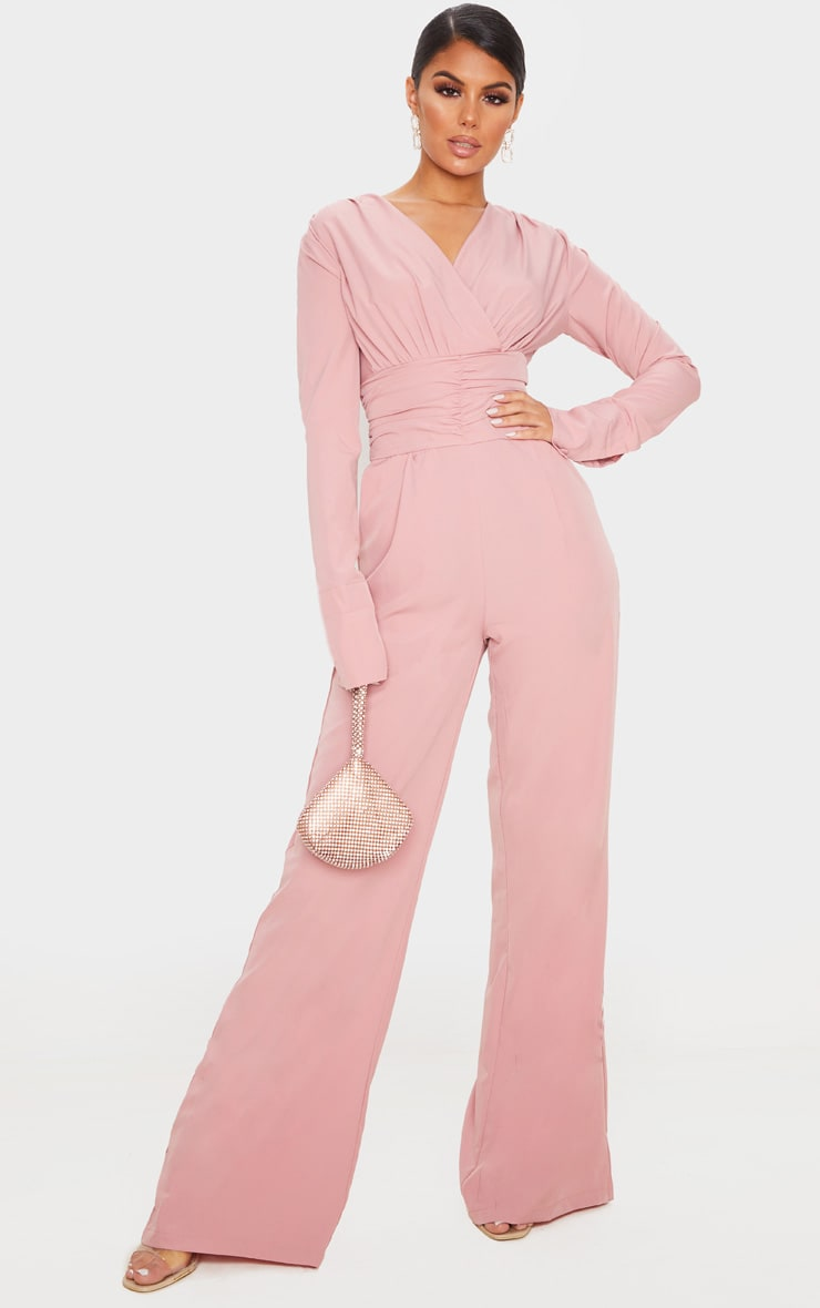 Dusty Pink Pleated Waist Plunge Jumpsuit 1