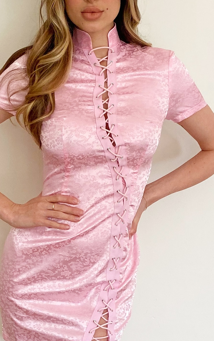 Baby Pink Print Satin Lace Up Short Sleeve Bodycon Dress 4