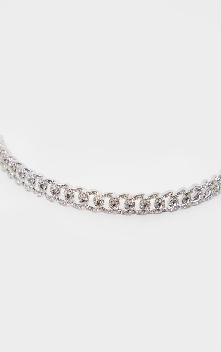 Silver Pave Solid Link Chain Choker 5