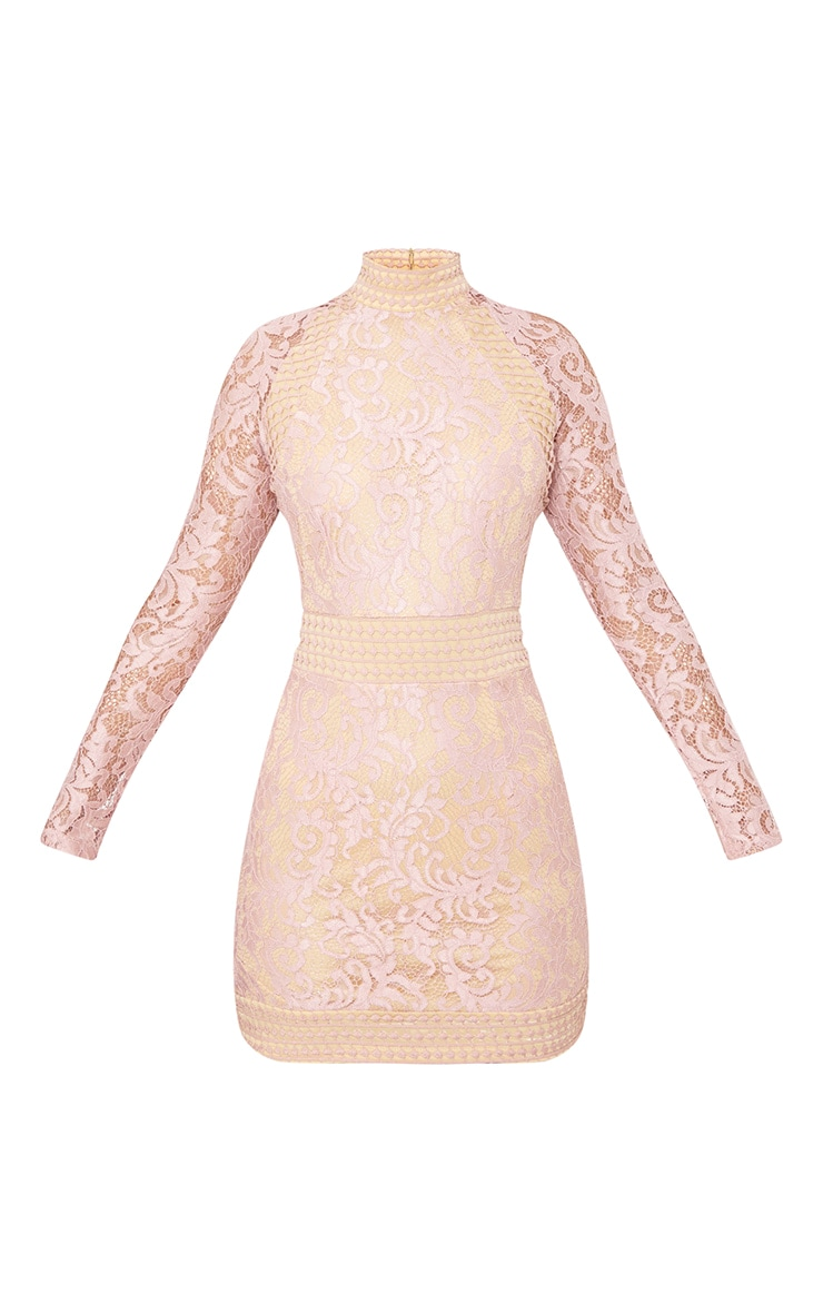 Dusty Pink Lace High Neck Bodycon Dress 3