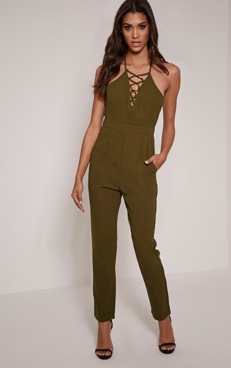 Aishina Khaki Lace Up Insert Jumpsuit 1