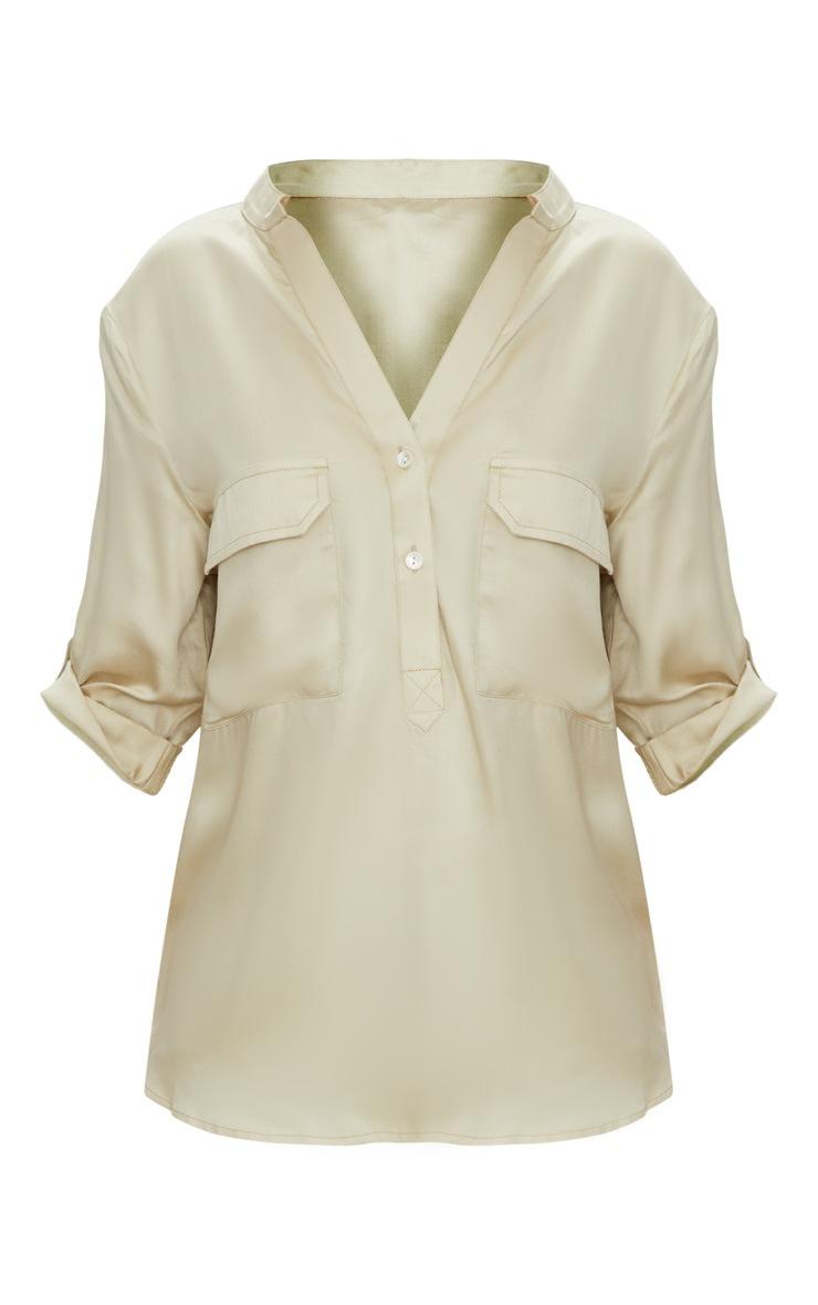Pale Olive Satin Pocket Front Loose Shirt  3