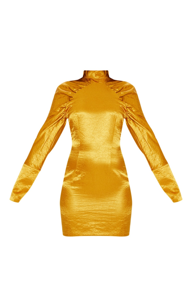 Gold Satin High Neck Ruched Sleeve Bodycon Dress 3