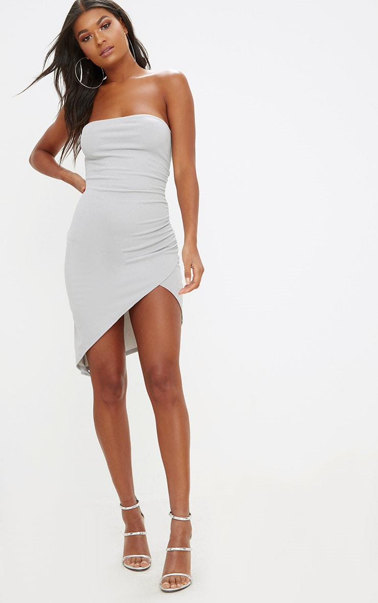 Ice Grey Bandeau Wrap Ruched Front Bodycon Dress 4
