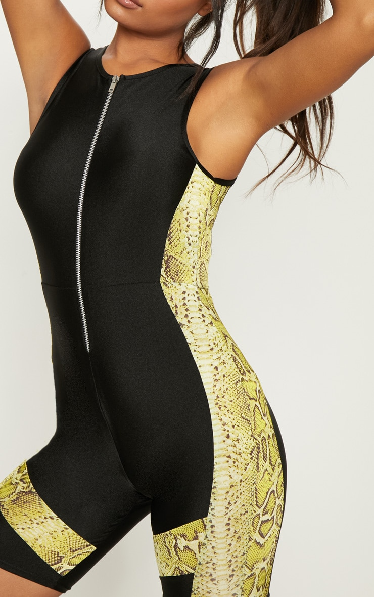 Black Contrast Lime Snake Unitard 5