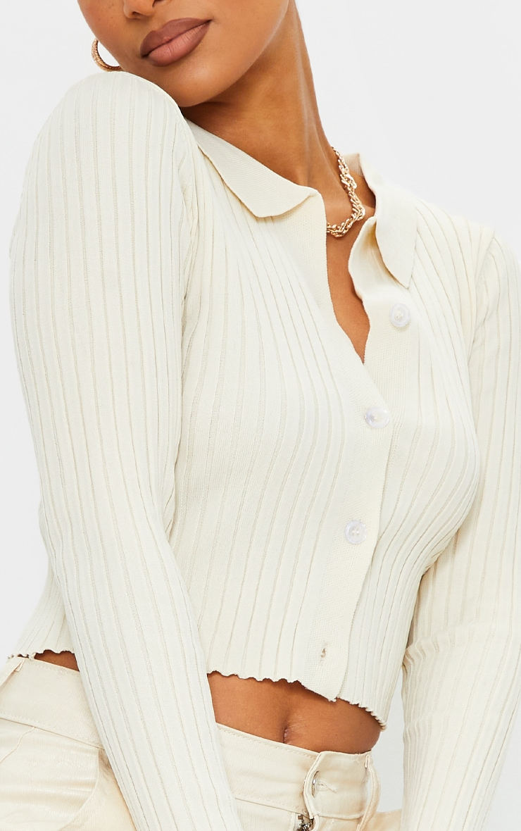 Cream Ribbed Collared Button Up Knitted Cardigan 4