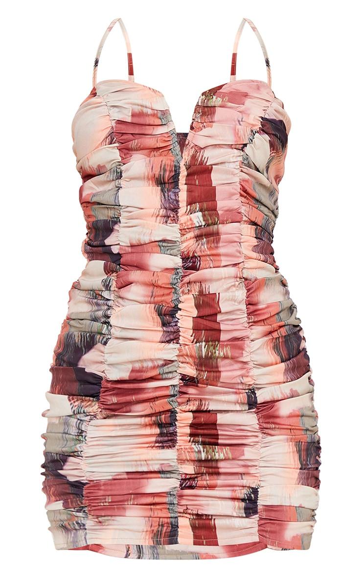 Multi Printed Ruched Strappy V Bar Bodycon Dress 5