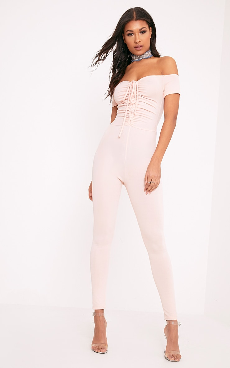Jazlyn Nude Ruched Front Jumpsuit 1