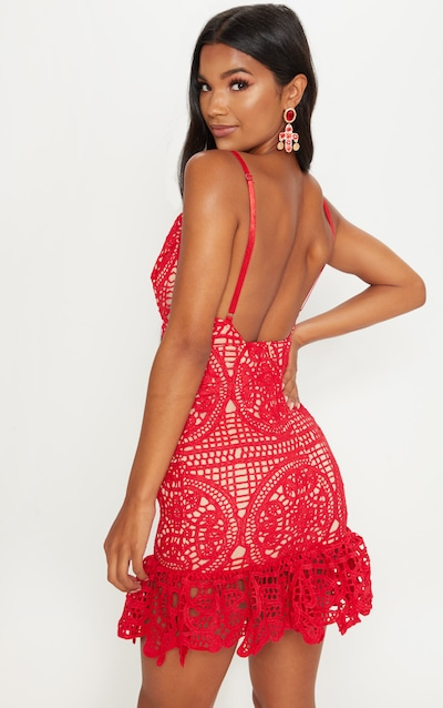 Red Strappy Thick Lace Frill Hem Bodycon Dress