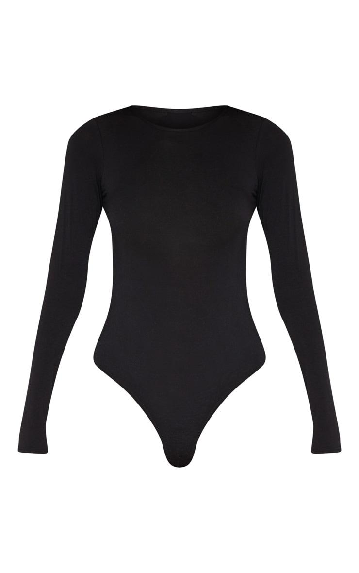Tall Black Basic Crew Neck Long Sleeve Bodysuit 3