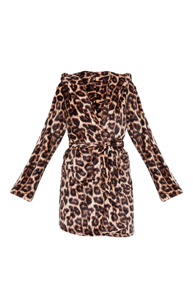 Brown Leopard Print Dressing Gown 3