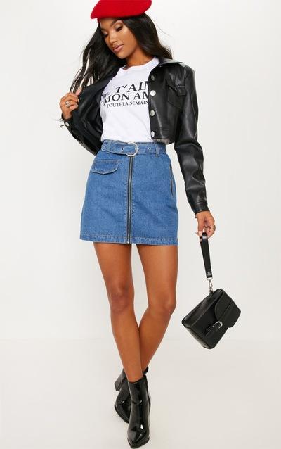 873bdfd9d63708 Mini-jupe moyennement délavée à zip frontal et ceinture intégrée