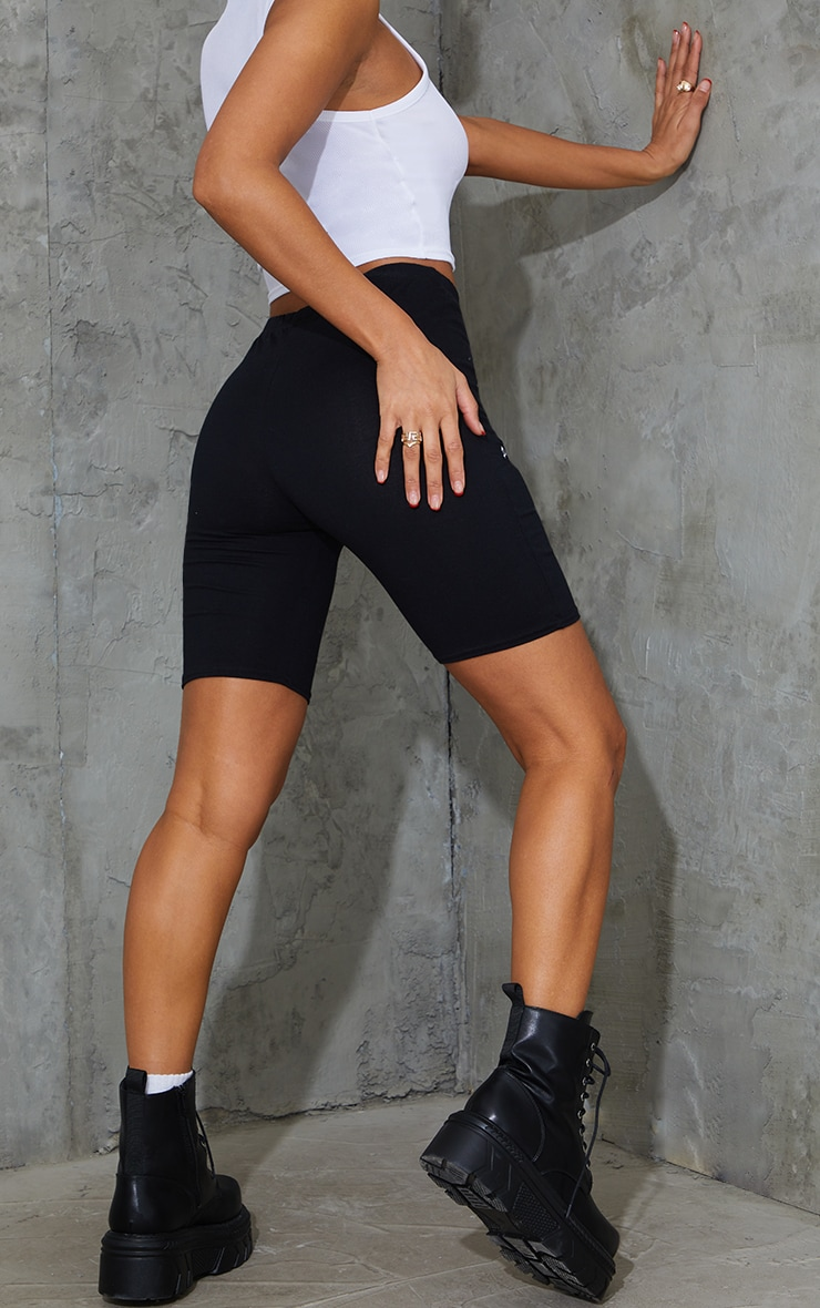 PRETTYLITTLETHING Black Embroidered Cycle Short 3