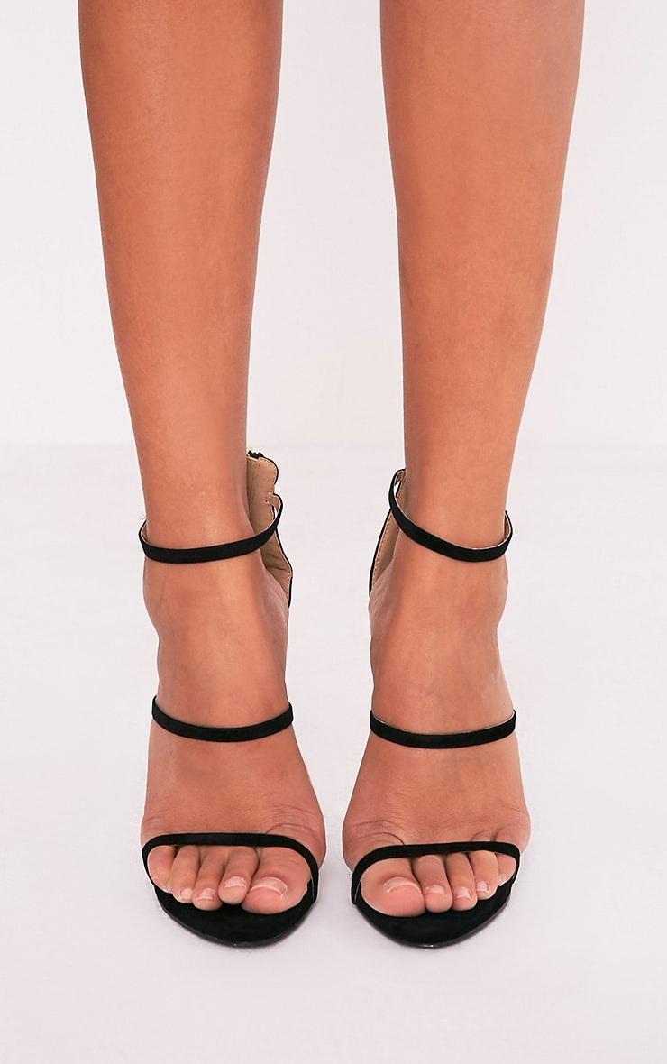 Asara Black Faux Suede Heeled Sandals 3